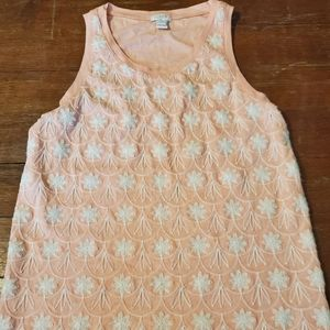 J Crew blush pink sleeveles embroidered top